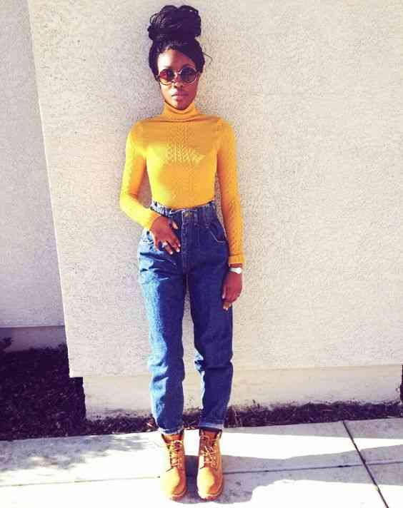 90s Outfits: yellow turtleneck long sleeve top, high waisted mom jeans, camel army boots, sunglasses, watch #outfitideas #retro #90s #yellow