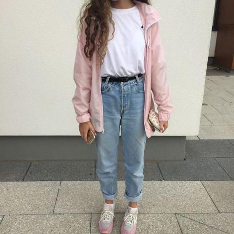 90s Outfit: pink jacket, white t-shirt, mom jeans, white and pink sneakers, black belt #outfit #pink #90s #retro