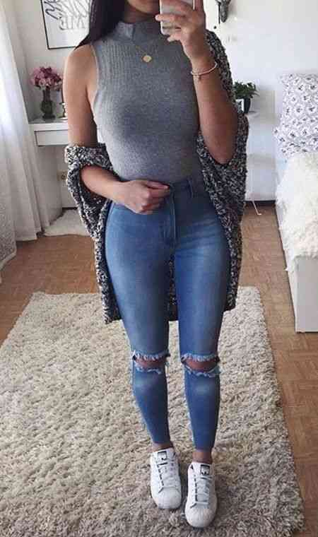 90s Outfits: gray turtleneck sleeveless top, ripped jeans, white sneakers, necklace, gray cardigan, bracelet #outfitideas #trendy #fashion #dailylook
