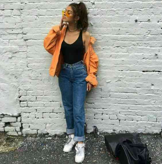 90s Outfits: yellow jacket, black sleeveless top, mom jeans, white sneakers, yellow sunglasses #outfitoftheday #yellow #girl #fashion