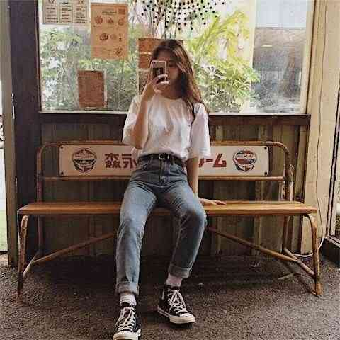 90s Outfit: white t-shirt, mom jeans, white socks, black and white sneakers, black belt #outfitoftheday #90s #retro #teen