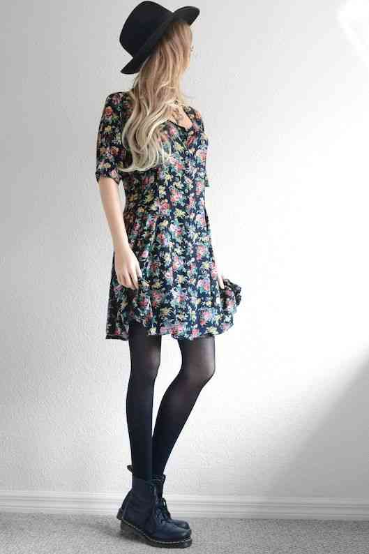 90s Outfit: black floral half sleeve dress, black tights, black booties, black wide brim hat #outfitoftheday #floral #dress #blonde