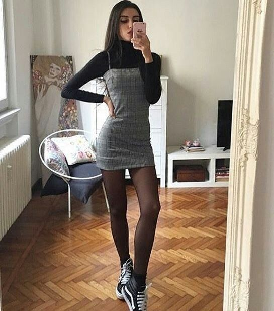 Aesthetic Outfit: black turtleneck sweater, gray spaghetti strap mini dress, black tights, black and white sneakers #outfitideas #longhair #black #casual