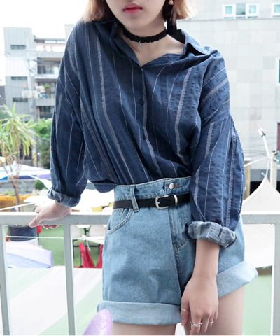 Aesthetic Outfit: navy blue shirt, high waisted denim shorts, black belt, choker #outfitoftheday #girl #casual #trendy