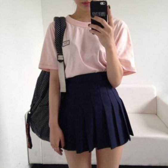 Aesthetic Outfits: pink t-shirt, navy blue waist pleated mini skirt, black and white point print bag #outfitideas #pink #casual #girly