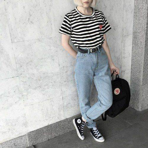 Aesthetic Outfits: black and white striped t-shirt, mom jeans, black and white sneakers, black bag, black belt #outfitoftheday #teen #blackandwhite #fashion