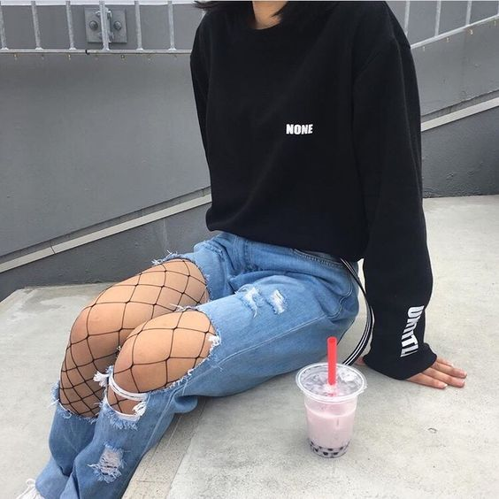 Aesthetic Outfit: black sweatshirt, ripped jeans, black fishnet tights #outfitideas #black #sexy #casual