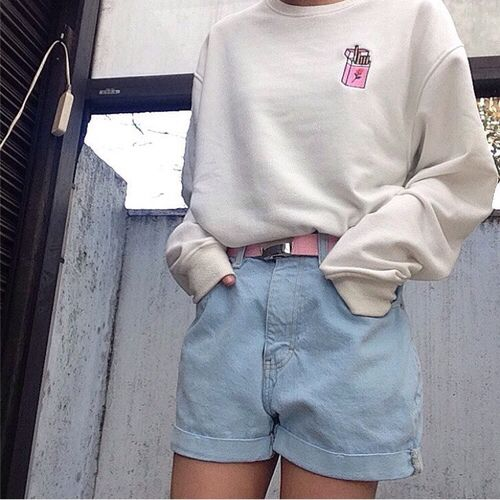 Aesthetic Outfits: white sweatshirt, denim shorts, pink belt #outfit #pink #causal #dailylook