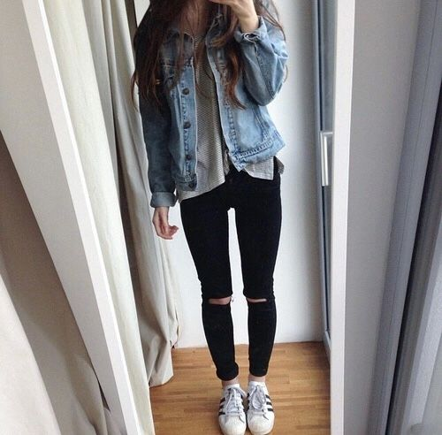 Aesthetic Outfits: denim jacket, gray top, black ripped jeans, white sneakers #outfit #trendy #fashion #casual