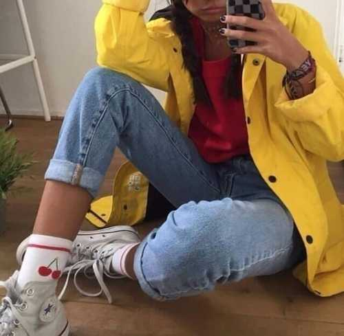 Aesthetic Outfit: yellow jacket, high waisted jeans, red top, white socks, white sneakers, bracelets #outfitoftheday #girl #yellow #chic