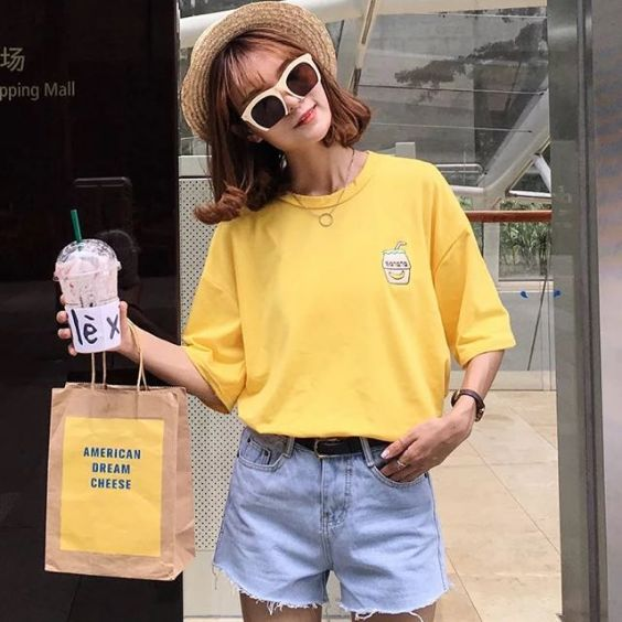 Aesthetic Outfits: yellow t-shirt, denim shorts, necklace, sunglasses, sun hat, bracelet #outfitideas #sunny #girl #casual