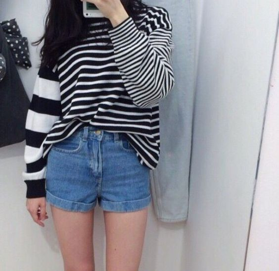 Aesthetic Outfit: black and white striped sweater, denim shorts #outfitideas #brunette #girl #cute