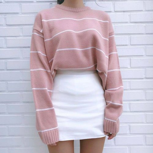Aesthetic Outfit: pink and white striped sweatshirt, white skirt #outfitideas #pink #girl #casual