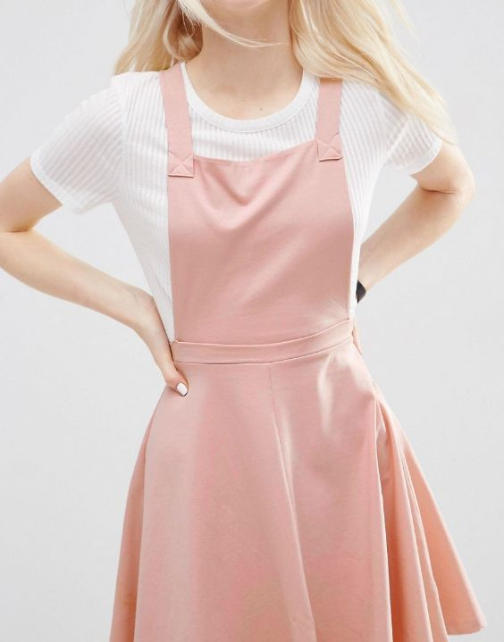 Aesthetic Outfits: white t-shirt, pink overall skirt #outfit #blonde #pink #girly