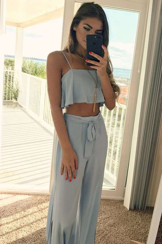 Beach Outfit: ligth blue spaghetti strap crop top, light blue palazzo pants, necklace #outfit #cute #women #trendy