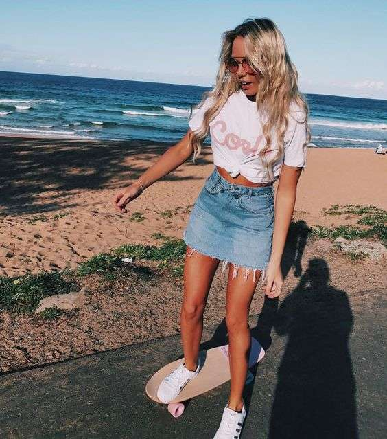 Beach Outfit: white knot top, denim mini skirt, white sneakers, sunglasses #outfit #blonde #skategirl #beach
