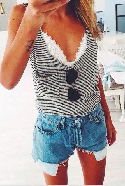 Beach Outfit: white swimsuit top, striped top, denim shorts, sunglasses #outfit #sun #trendy #fashion