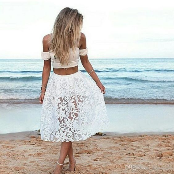 Beach Outfits: white off the shoulder crop top, white lace skirt, anklet, upper arm bracelet #outfitideas #blonde #cute #girl