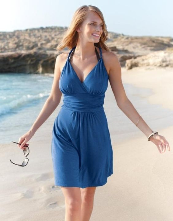 Beach Outfits: navy blue halter dress, bracelet, sunglasses #outfitoftheday #dress #smile #fashion