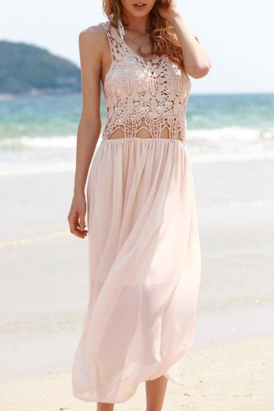 Beach Outfit: pink lace crop top, pink maxi skirt #outfitideas #beach #2018 #look