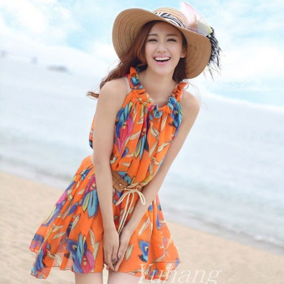 Beach Outfits: orange floral mini halter dress, brown waist belt, sun hat #outfitoftheday #floral #smile #girl