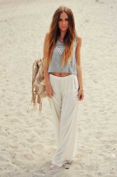 Beach Outfits: gray boho crop top, white palazzo pants, beige boho bag, bracelet #outfitoftheday #fashion #boho #bohemian
