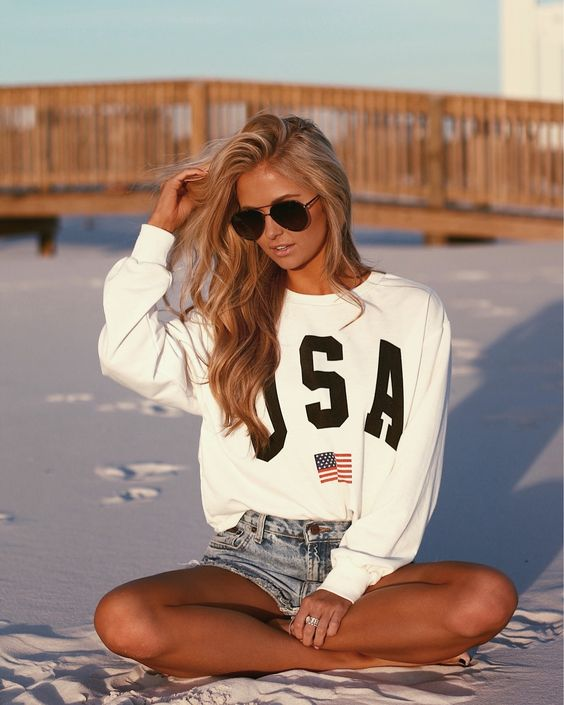 Beach Outfit: white hoodie, denim shorts, sunglasses #outfitoftheday #sweatshirt #longhair #teen
