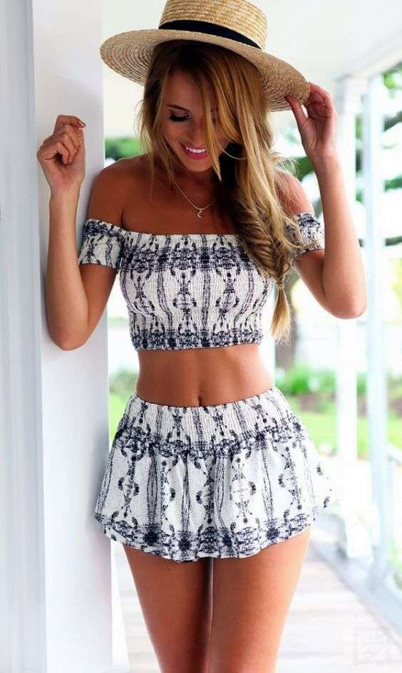 Beach Outfit: white and navy blue off the shoulder crop top and shorts set, floppy hat, necklace #outfit #girl #teen #braidhair