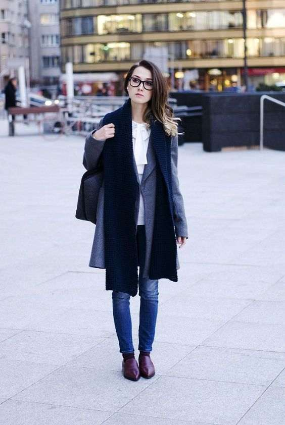 Business Casual Outfit: gray coat, black scarve, white bow front blouse, skinny jeans, brown mocassins shoes, black handbag #outfitoftheday #glasses #brunette #girly