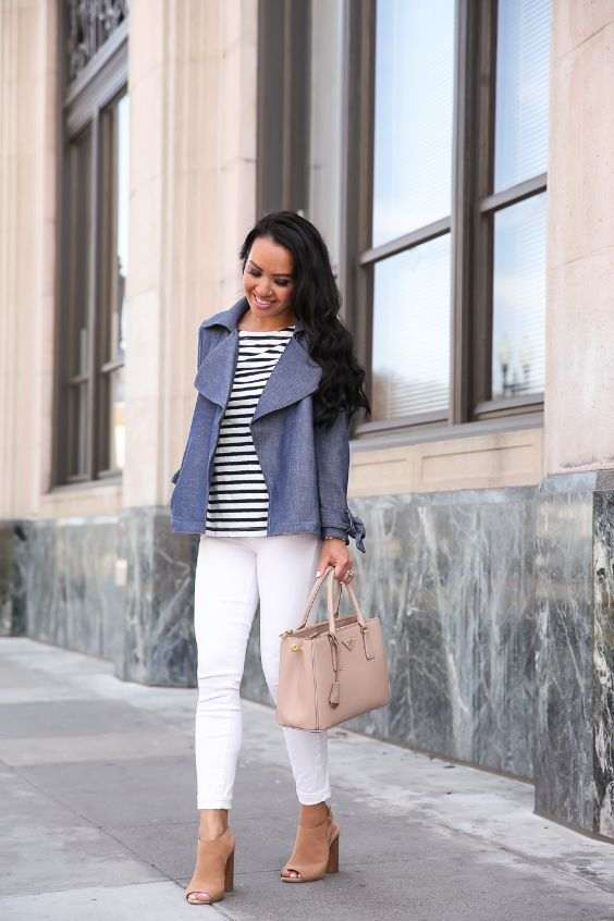 Business Casual Outfits: gray blazer, black and white striped top, white capri pants, camel ankle boots, beige handbag #outfitoftheday #brunette #longhair #makeup