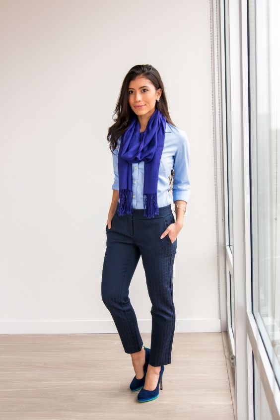 Business Casual Outfit: royal blue scarve, light blue shirt, navy blue pegged pants, navy blue heels, bracelets #outfitideas #blue #work #office