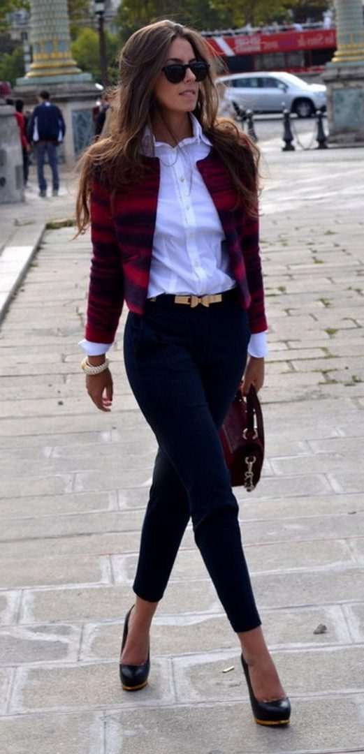 Business Casual Outfits: red plaid jacket, white shirt, navy blue skinny pants, black heels, black and golden belt, wine handbag, watch, sunglasses #outfitideas #woman #work #fashion