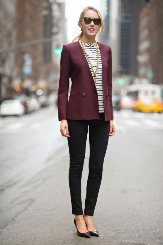 Business Casual Outfit: wine blazer, black and white striped shirt, black skinny pants, black scarpin shoes, golden necklace, sunglasses #outfit #blonde #city #trendy
