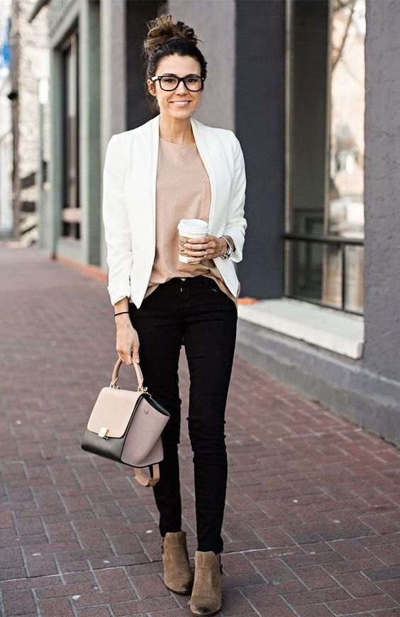 Business Casual Outfit: white blazer, pink top, black skinny jeans, brown booties, pink and black handbag, watch, bracelet #outfitideas #glasses #hairstyle #brunette