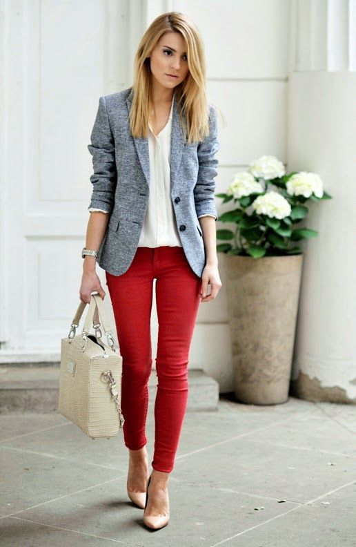 Business Casual Outfit: gray blazer, white v-neck top, red skinny pants, nude scarpin shoes, beige handbag, watch #outfitoftheday #red #blonde #trendy