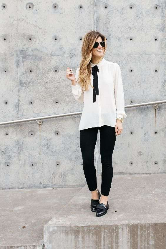 Business Casual Outfit: white shirt, black bow, black skinny pants, black loafer shoes, sunglasses, watch #outfitoftheday #blonde #woman #blackandwhite