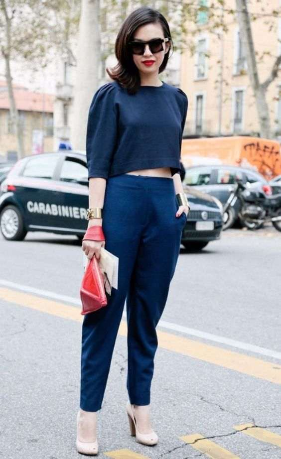 Business Casual Outfits: navy blue leg of mutton sleeve crop top, navy blue pegged pants, nude heels, golden bracelets, sunglasses, red handbag #outfit #girly #navyblue #woman