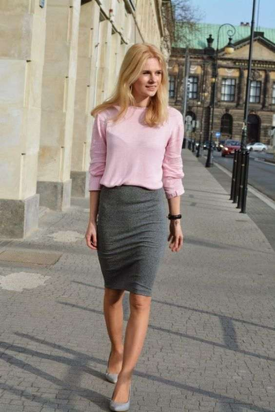 Business Casual Outfits: baby pink sweatshirt, gray tube skirt, light gray scarpin shoes, bracelet #outfitoftheday #blonde #pink #trendy