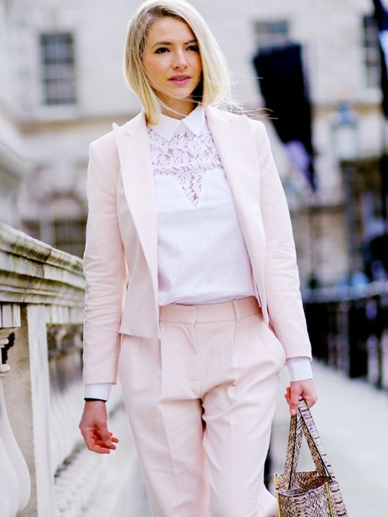 Business Casual Outfit: baby pink blazer and pleat front pants set, white lace shirt, snake print handbag #outfitideas #pink #blonde #cute