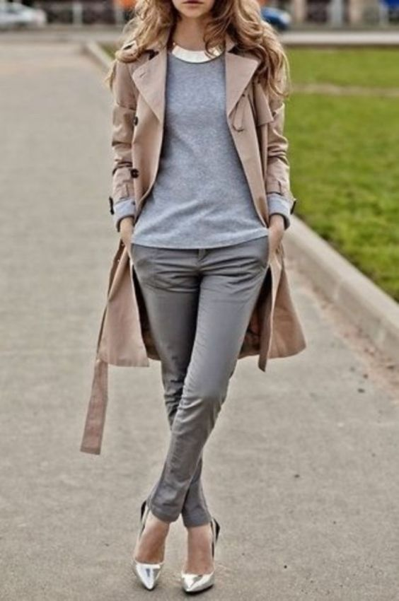 Business Casual Outfit: beige coat, gray sweater, gray skinny pants, silver scarpin shoes, silver necklace #outfitideas #fashion #trendy #cute