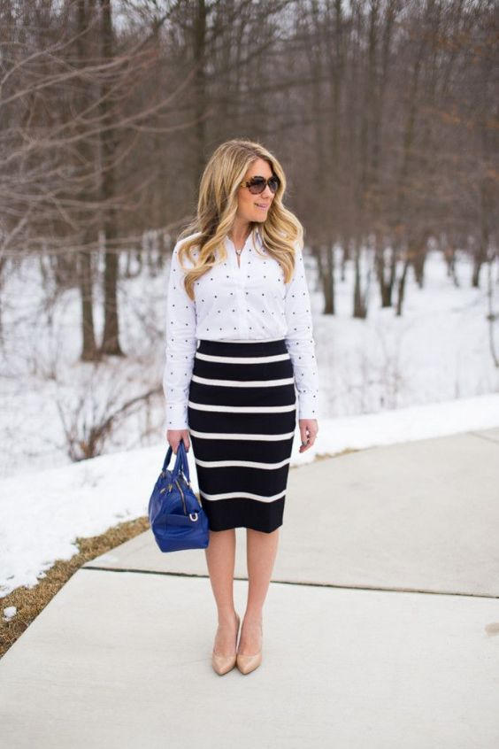 Business Casual Outfits: black and white point print shirt, black and white striped pencil skirt, nude pump shoes, royal blue handbag, sunglasses #outfit #snow #work #fashion