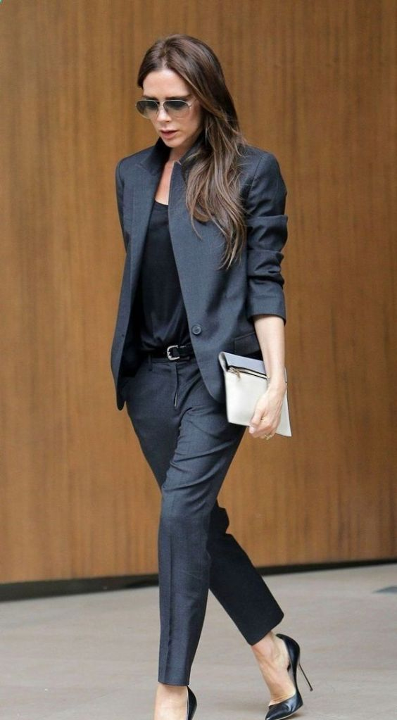 Business Casual Outfit: dark gray blazer and pegged pants set, black top, black belt, black scarpin shoes, sunglasses #outfit #office #work #fashion