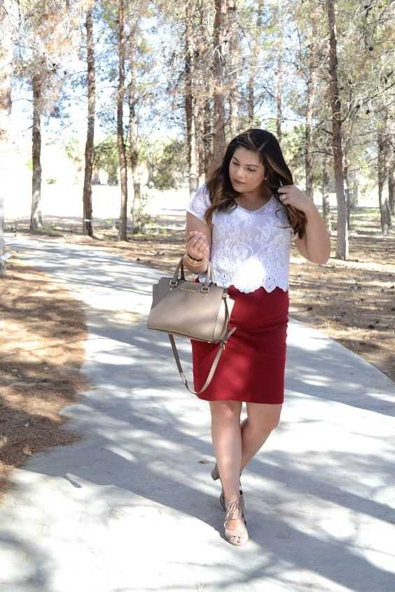 Business Casual Outfit: white short sleeve lace top, red pencil skirt, nude heel sandals, beige handbag, bracelets #outfitideas #brunette #park #work