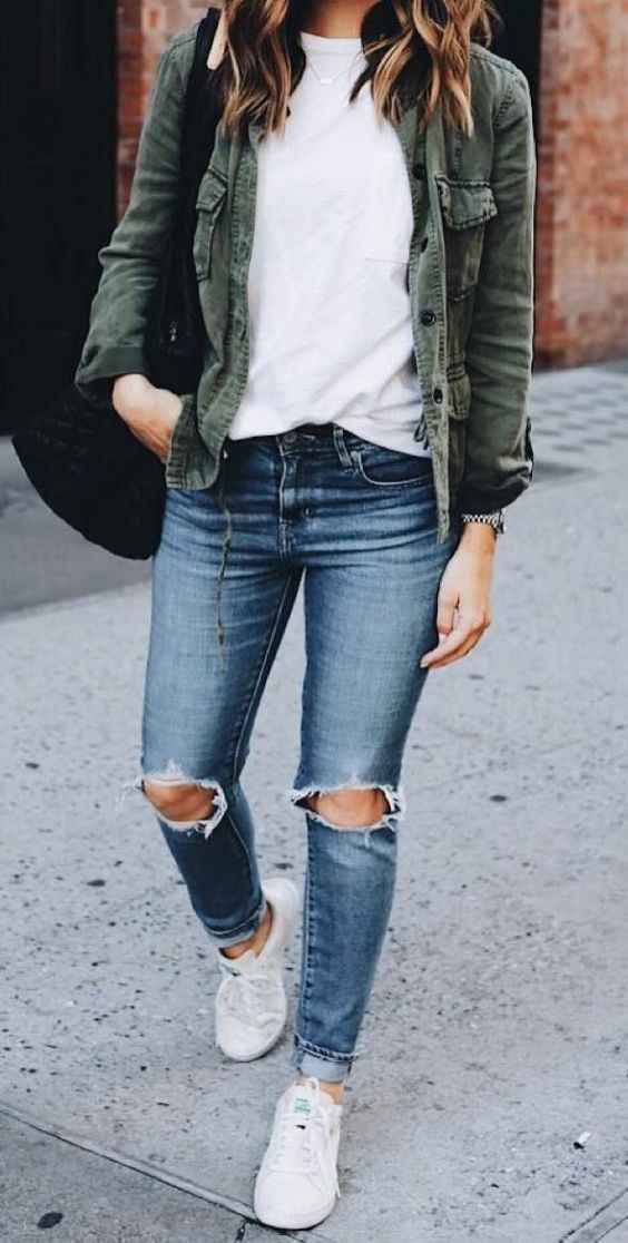 Casual Outfit: army green jacket, white t-shirt, ripped jeans, white sneakers, black bag #outfitoftheday #casual #dailylook #women