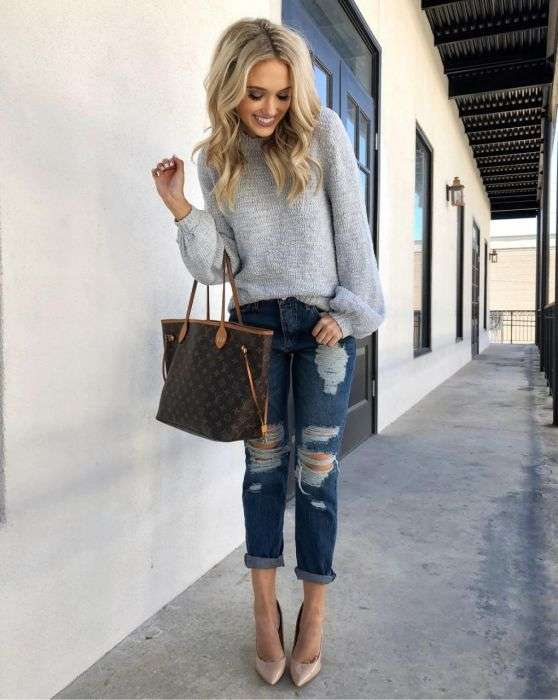 Casual Outfits: gray sweater, ripped jeans, brown handbag, nude heels #outfitideas #blonde #trendy #cute