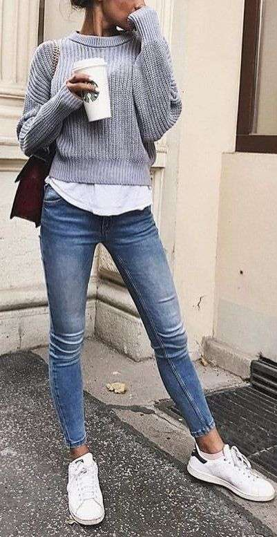 Casual Outfit: gray hoodie, white t-shirt, skinny jeans, white sneakers, brown bag #outfit #gray #fashion #sneakers