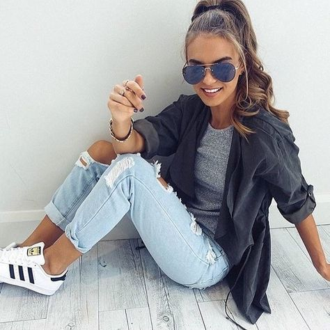 Casual Outfits: black half sleeve shirt, gray top, ripped jeans, black and white sneakers, sunglasses #outfitoftheday #dailylook #teen #trendy