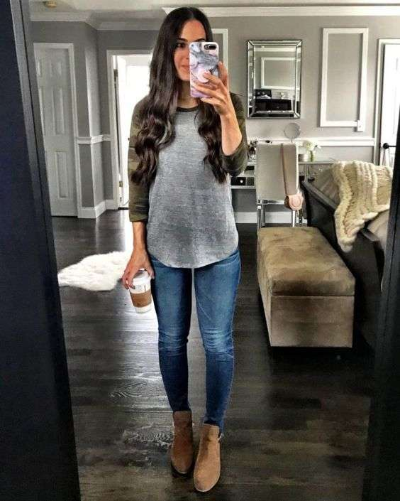 Casual Outfits: gray and camouflage half sleeve shirt, skinny jeans, camel booties #outfit #longhair #fashion #teen