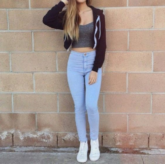 Casual Outfit: black jacket, gray crop top, skinny jeans, white sneakers #outfit #teen #girly #trendy
