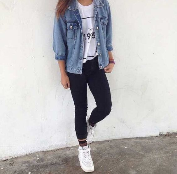 Casual Outfits: denim jacket, white t-shirt, black skinny jeans, white sneakers, bracelet #outfitoftheday #girly #teen #casual